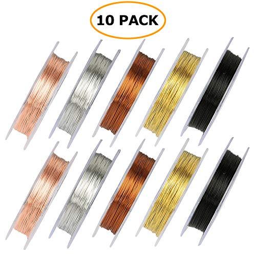 e für die Schmuckherstellung, 10 Rollen Gemischt Farbig Schmuckdraht 0,3 mm und 0,5 mm für DIY-Kunsthandwerk (10 Meter pro Rolle) ()