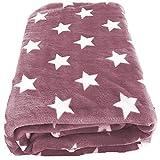 Mojawo Wohndecke/Flanell Decke Rosa 180x220cm Sternenmotiv Sofadecke Wohndecke Tagesdecke