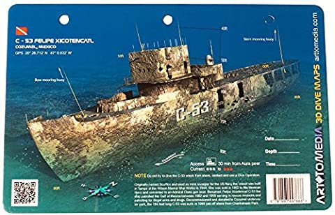 New Art to Media Underwater Waterproof 3D Dive Site Map - C-53 Felipe Xicotencatl in Cozumel (8.5 x 5.5 Inches) (21.6 x 15cm) by Innovative