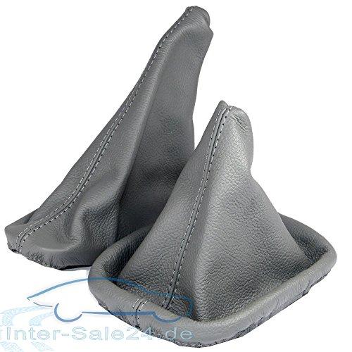 L&P A0022 Set Cuffia leva Sacco del cambio grigio di 100% vera vero pelle con Cucitura grigio freno a mano plug play di cambio manuale