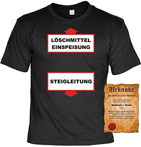 Feuerwehr T-Shirt Löschmitteleinspeisung - Steigleitung Shirt 4 Heroes Geburtstag Geschenk geil bedruckt mit Urkunde Schwarz