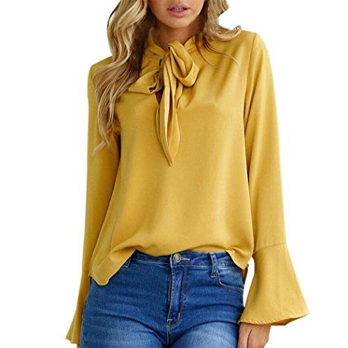 WOCACHI Damen Frühling und Herbst Blusen Mode Frauen Langarm Reizvolles Flare Hülse V-Ausschnitt Bowknot Krawatte Dekoration Gelb Bluse Tops Gelb