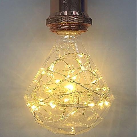 Lampe décorative ampoules, Xinrong Fil de cuivre de ciel étoilé ampoules E272W d'économie d'énergie rétro Vieux Mode Edison Ampoule d'éclairage d'intérieur Home Décoration de pendentif, doux et chaud Blanc Glow, G95 diamond, E27 2.0 wattsW 240.0 voltsV