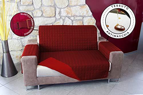 Copridivano Trapuntato Tinta Unita Impermeabile antimacchia Bicolore Imbottito 1 Posto Bordeaux/Rosso Seduta da 55 a 85 cm
