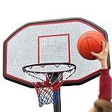 Basketball Set, Basketballkorb mit Standfuß und Ball, Fuß mit 2 Rollen füllbar mit Sand oder Wasser, Korbhöhe 200 - 305 cm, Korbdurchmesser: 45 cm, Brett 109x71x3 cm, Gewicht: 19kg ohne Befüllung