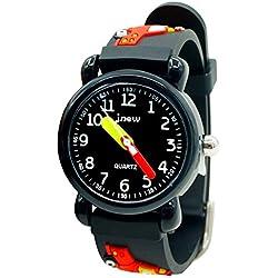 JNEW - Reloj de Cuarzo para Niños Negro Divertido Cute en Caja de Regalo Reloj de Pulsera con Modelo de Coche Escolar Impermeable