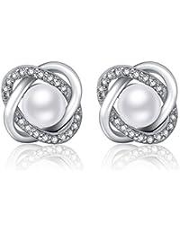 fdccaac54c82 Twinmond - Pendientes de tuerca para mujer hechos en plata de ley 925 con  perla de