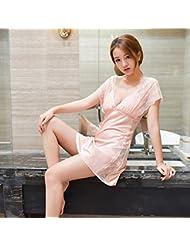 XW-atxsCamison pijama de verano dama cuello en V manga corta traje sujetador de encaje decoracion del hogar con la ,L,Puesta de sol en polvo