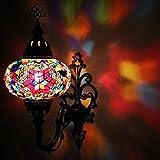 Impresionante Lámpara De Pared Con Apliques, Lámpara De Pared Con Aplique De Mosaico Multicolor Turco Estilo Marroquí Otomano Hecha A Mano Con Globo Tamaño Grande.