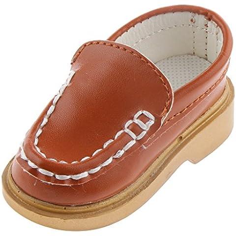 Zapatos Fashion Muñeca Par de Deslizamiento PU Cuero Forma de Mocasines Barco Durante 1/3 BJD - Marrón