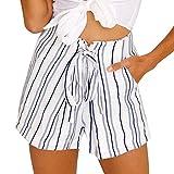 Sunenjoy Shorts Femmes Rayé Short de Jambe Large Pantalon Courte Taille Haute Été Casual Nouveau Pantalons de Plage (L, Blanc)