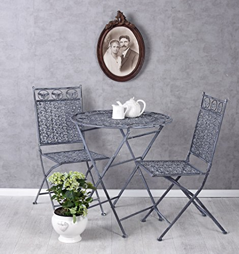 Jugendstil Tisch (Sitzgarnitur Gartenmöbel Set Tisch und 2 Stühle im Jugendstil AHH005 Palazzo Exklusiv)