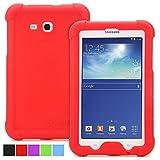 Funda Galaxy Tab 3 lite 7.0 / Galaxy Tab E Lite 7.0 - Poetic [Serie Turtle Skin] Funda Galaxy Tab 3 lite 7.0 / Galaxy Tab E Lite 7.0 - [Protección Esquina/Parachoques] [Amplificación de Sonido] Funda Protectora de Silicón para Samsung Galaxy Tab 3 Lite 7.0 (2014) / Galaxy Tab E Lite 7.0 (2016) Rojo (3 Años Garantía del Fabricante Poetic)