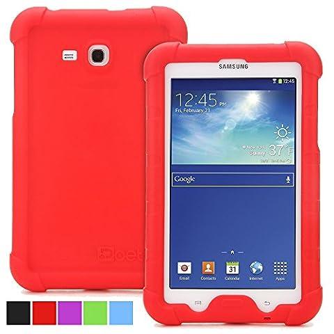 Samsung Galaxy Tab 3 Lite 7.0 Schutzhülle - Poetic Samsung Galaxy Tab 3 Lite 7.0 Case Hülle [Turtle Skin-Serie] - [Eck/Kantenschutz] [Griff] [Klangverstärkend] Schützende Silikon Case Hülle für das Samsung Galaxy Tab 3 Lite 7.0 Rot (3 Jahre Herstellergewährleistung von Poetic)