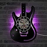 LRRD Creux Guitare Électrique Design Vinyle Record Horloge Murale Unique Home Decor Instruments De Musique Creative Suspension LED Horloge