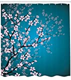 ABAKUHAUS Japonés Cortina de Baño, Primavera Flor de