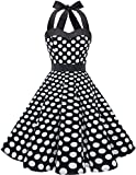Dresstells Neckholder Rockabilly 1950er Polka Dots Punkte Vintage Retro Cocktailkleid Petticoat Faltenrock Black White Dot XL