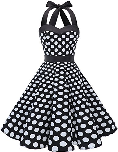 Dresstells Neckholder Rockabilly 1950er Polka Dots Punkte Vintage Retro Cocktailkleid Petticoat Faltenrock Black White Dot 2XL (50er Jahre Pin Up Kleid)