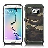 JAMMYLIZARD Camouflage Hülle für Samsung Galaxy S6 | Outdoor-Schutzhülle [Army HD] Military Case aus Silikon und Leder mit Tarnmuster, Grün