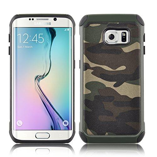 JAMMYLIZARD Camouflage Hülle für Samsung Galaxy S6 | Outdoor-Schutzhülle [Army HD] Military Case aus Silikon & Leder mit Tarnmuster, Grün