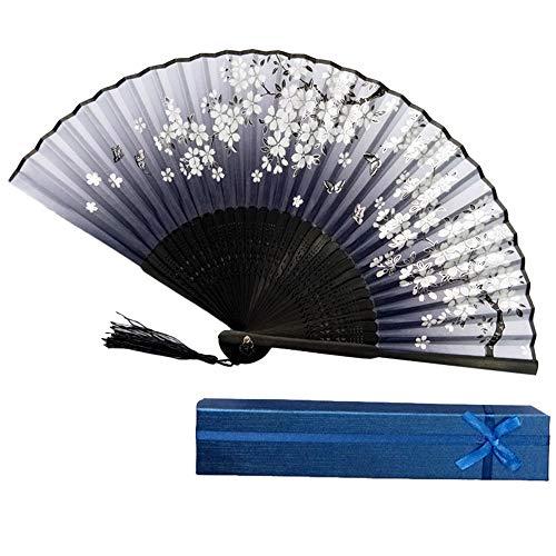 Syeytx chinesischen Stil Hand Fan Bambus Papier Faltfächer Wandventilator + GeschenkboxHochzeit, Party, Tanz, Karneval Dekor - Tanz-dekor