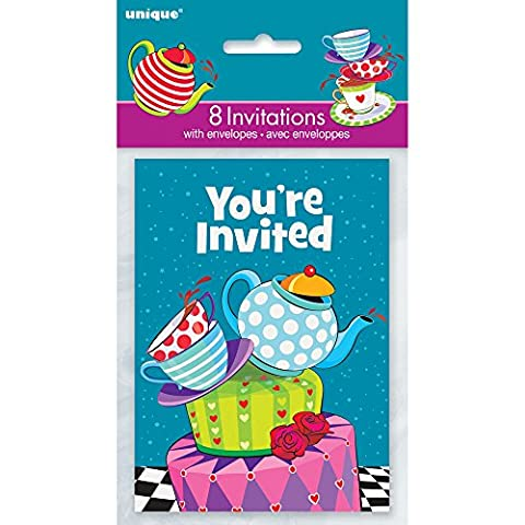 Mad Hatters Tea Party Invitations, Pack of 8