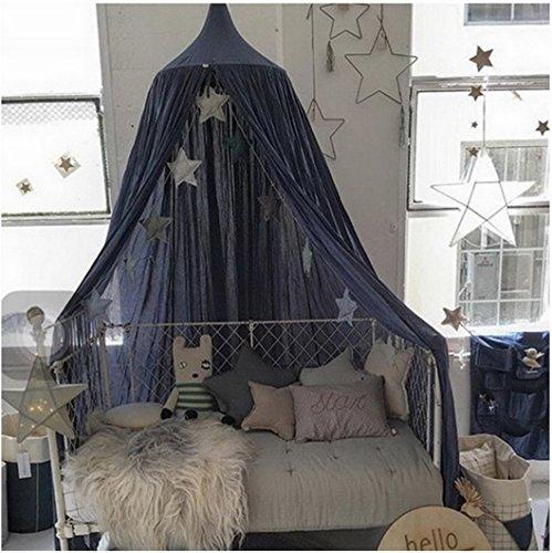 Restbuy Kinder Betthimmel Baldachin aus Baumwolle Mückenschutz Moskitonetz Insektenschutz Baby indoor Play Lesen Zelt Dekoration für Bett und Schlafzimmer (Marineblau)
