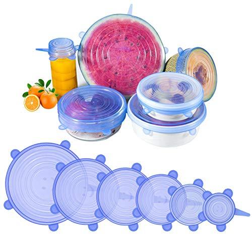 AJOXEL Dehnbare Silikondeckel, 6 Stück Frischhaltefolie in Verschiedenen Größen Silikon Stretch Deckel Lebensmittel Silikon Abdeckung, Dehnbar & Flexibel für Gemüse, Schüsseln, Becher (Blau) - Gurken-melonen-seife