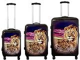 KoTaRu Polycarbonatkoffer Motiv Löwe Reisekoffer Trolley Handgepäck Koffer, Grösse:3er Set