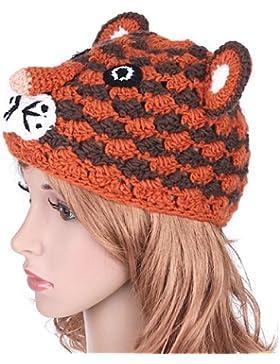 Chic-Net–Berretto in maglia da sci berretto di peluche animale Viso Island Filo unisex tigre per bambini