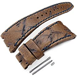 Heavy Scratch Leather of Art Watch Strap for Audemars Piguet Royal Oak Offshore, Navy St