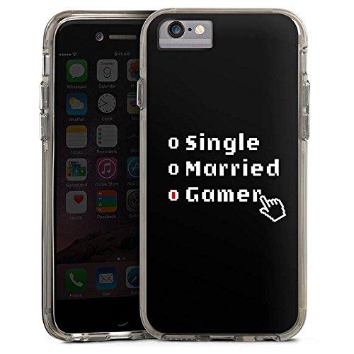 Apple iPhone X Bumper Hülle Bumper Case Glitzer Hülle Gamer Spruch Zocken Bumper Case transparent grau