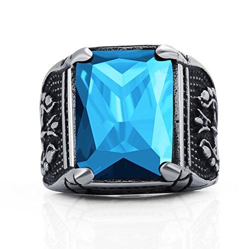 Truteraa - 2019 hochwertige Vintage-CZ-Stein Ringe der Männer Punkart 316L-Edelstahl-Ring für Männer Schmuck Qualitäts-Männer Ring mit Kristall [Blau 12]
