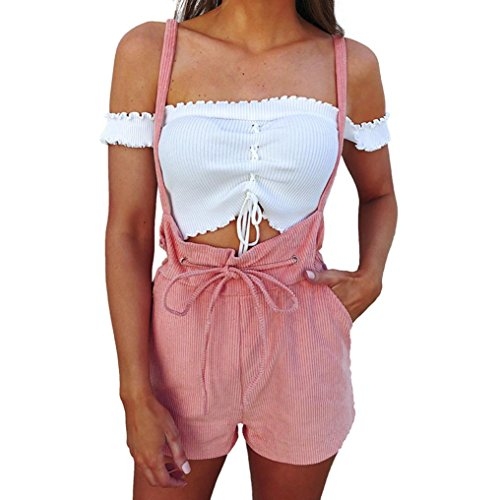 Ouneed- Shorts Damen Sommer, Damen Womens Overalls Solide Hohe Taille Bandage Shorts Hosen Kordelzug Strampler (Rosa, XL) -