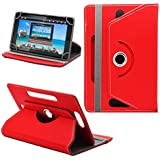 """Generic 360° Rotating 7"""" Inch Tablet Leather Flip Case Cover Book Cover With Stand For Lava Ivory S 4G -Red"""