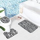 3 STÜCKE Flanell Kreative Zebra Muster Rutschfeste Toilettensitzabdeckung und Teppich Badezimmer Set Decor