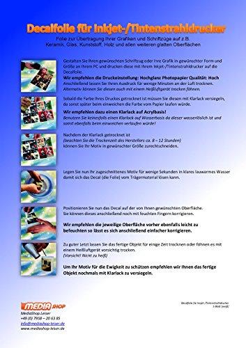 Preisvergleich Produktbild 5 Blatt Inkjet Tintenstrahl Wasserschiebefolie Decal Papier Transfer Folie DIN A4 weiß