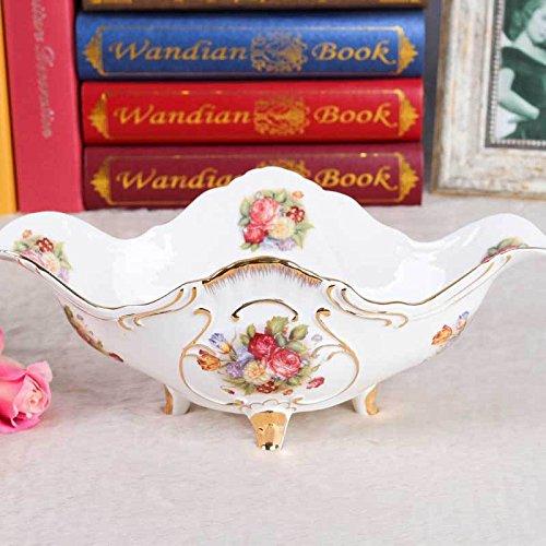MEICHEN Casa cucina idee lusso matrimonio regalo quattro piedi stile europeo porcellana bone China frutta (Bone China Crema)