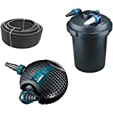 Bio Impresión filtro para estanque Juego 12.000l CPF 380+ ECO Bomba o de serie 6500+ UVC depuradora + 10metros Estanque Manguera