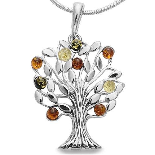 Baum des Lebens Bernsteinschmuck Lebensbaum Weltbaum Anhänger 925er Silber Bernstein Schmuck Baum Amulett Medaillon #1633