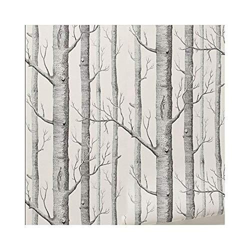 Tapeten Schwarz Weiß Birkenbaum 3D Tapete Für Schlafzimmer Modernes Europäisches Design Wohnzimmer Tapetenrolle Rustikale Waldwälder (Color : White) -