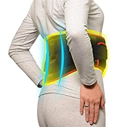 XYLUCKY Far-infrared Heating Vibration Massage Belt ,Tension Relief Heat Therapy Pad ,3 Heat-Settings ,Velcro Design ,Heating with a Mobile Power Supply