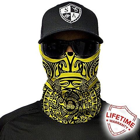 Polynesian Tribal Yellow Design. SA Company Face Shield / Loop