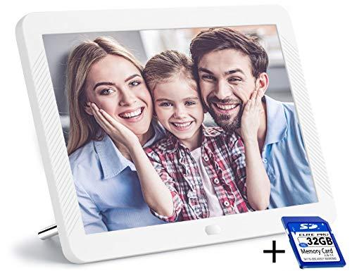 Digitaler Bilderrahmen 8 Zoll mit 32 GB SD Karte NAPATEK Elektronischer Fotorahmen 1920 x 1080 Hochauflösender 16: 9 Full IPS Bildschirm, Foto/Musik/Video Player Kalender Fernbedienung