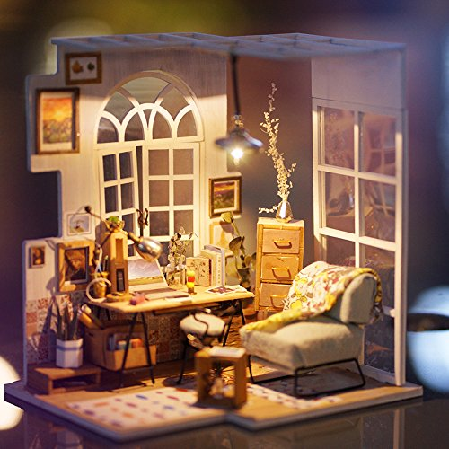 Robotime Miniature House - Wooden Doll House for 14 Years Old Girls - Living Room Accessories and Furniture Kits