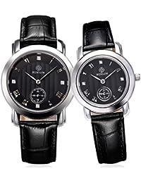 binlun pareja de relojes Ultra delgado su y para ella Relojes Set regalos para las mujeres hombres con correa de cuero negro japonés movimiento de cuarzo dial de color negro