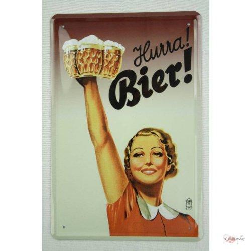 Bier Blechschilder (Hurra Bier Blechschild Gewölbt Neu 20x30cm VS2771A)