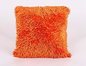 New Heavy Shaggy Chenille Orange Luxury Cushion Cover 43x43cms
