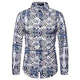 TEBAISE Langärmelige Hemd Herren Art-langärmliges Blumen Hemd Shirt Modern Luxuriös Kent Kragen Langarm Shirt Mercerisierte Baumwolle Freizeit Hemden Größe S-XXL für 2019 Winter Herbst