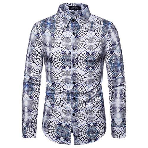 Zonary Herren Hemden, 3D-Druck Sommer Baumwolle Leinen Shirt,Sieben Punkte Leinenhemd aus Mode Bluse Top,Herren Regular Fit Freizeithemd Casual T-Shirt, Solid Langarm-Shirts für Männer Bluse,S-XXL